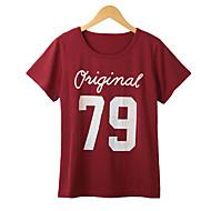 De las mujeres Un Color Camiseta-Escote Redondo-Algodón-Manga Corta