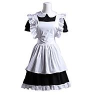 Short Sleeve Short Black and White Cotton Maid Cosplay Lolita Dress