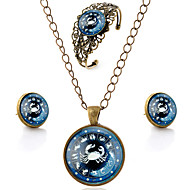 Lureme® Time Gem The Zodiac Series Vintage Cancer Pendant Necklace Stud Earrings Hollow Flower Bangle Jewelry Sets