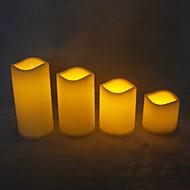 3pcs / set levou decorativo bateria de cera sem chama pilar velas operado vela acender velas electrónicas