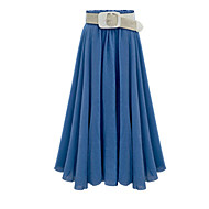 Women's Solid Blue / Black / Gray Skirts,Casual / Day Midi