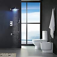 עכשווי מותקן על הקיר LED / תרמוסטטי / מקלחת גשם / שפורפרת יד כלולה with  שסתום פליז שתי ידיות חמישה חורים for  כרום , ברז למקלחת