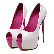 Women's Shoes Patent Leather Stiletto Heel Peep Toe  Heels Party & Evening / Dress Black / White