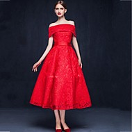 Cocktail Party Dress-Ruby A-line Off-the-shoulder Tea-length Lace