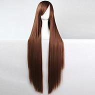 애니메이션 코스프레 가발 갈색 100cm 긴 직선 머리 고온 와이어
