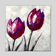 Purple Tulip Style Canvas Material Oil Paintings with Stretched Frame Ready To Hang Size 70*70CM.