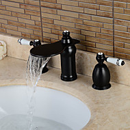 Separated Type Two Handles Oil-rubbed Bronze Bathroom Basin Faucet - Black