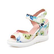 Women's Summer Heels / Platform / Comfort / Open Toe PU Office & Career / Dress Wedge Heel Satin Flower / Flower Black / Blue / Pink