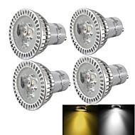 YouOKLight® 4PCS GU10 3W 3-LED 300lm  Warm White/ Cold White Light Dimmable LED Spotlight (AC110~120V/220-240V/85-265V)