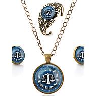 Lureme® Time Gem The Zodiac Series Vintage Libra Pendant Necklace Stud Earrings Hollow Flower Bangle Jewelry Sets