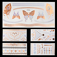 5pcs Colorful Gold Bronze Silver Chain Necklace Temporary Flash Metallic Tattoos Sticker Waterproof
