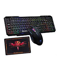 Rainbow Backlit Multimedia Gaming Keyboard  2400DPI Usb Gaming Mouse and Pad 3 Pieces a Set