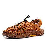 Men's Sandals Gladiator Cowhide Summer Casual Walking Gladiator Flat Heel Brown Yellow Flat