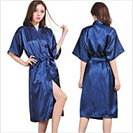 m dama de cetim de seda do pijama lingerie sleepwear quimono vestido de camisola longa túnica