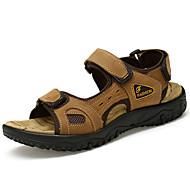Sandály-Kůže-Pohodlné-Pánské-Světle hnědá Tmavěhnědá-Outdoor Běžné Atletika-Plochá podrážka