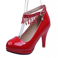 נעלי נשים-בלרינה\עקבים-דמוי עור-עקבים-שחור / ורוד / אדום / Almond-משרד ועבודה / שמלה / מסיבה וערב-עקב סטילטו