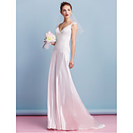 Lanting Bride® Sheath / Column Wedding Dress Sweep / Brush Train V-neck Charmeuse with Lace
