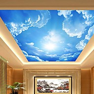 3 차원 시니 가죽 효과가 큰 로비의 천장 벽화 벽지 푸른 하늘과 구름 천장 페인팅 아트 장식