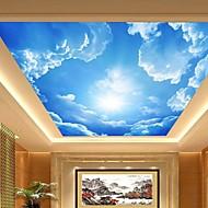 3d shinny Leder Effekt große Lobby Decke Wandtapete blauer Himmel und Wolken Deckenmalerei Kunstdekor