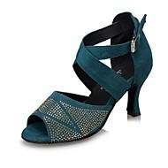Obyčejné-Dámské-Taneční boty-Latina / Vystupovací-Semiš-Vysoký úzký-Černá / Modrá / Leopardí