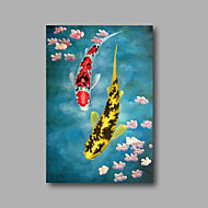 """Stretched (ready  to hang) Hand-Painted Oil Painting on Canvas 36""""x24"""" Modern Deco Art Fishes Flowers"""