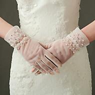 Wrist Length Fingertips Glove Nylon / Elastic Satin Bridal Gloves / Party/ Evening Gloves