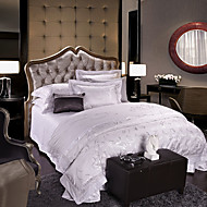 White Luxury Silk Cotton Blend Duvet Cover Sets Queen King Size Bedding Set
