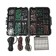 1 set Fishing Tackle Box with Carp Hooks Safety Lead Clips Rig Tubes Beads Swivels Anti Tangle Sleeves Hair Extender