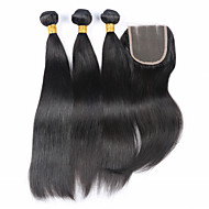 Волосы Уток с закрытием Бразильские волосы Прямые волосы ткет