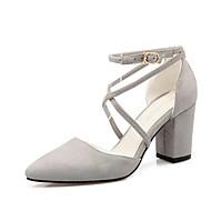 נעלי נשים-בלרינה\עקבים-דמוי עור-עקבים / שפיץ-שחור / כחול / ורוד / אפור-משרד ועבודה / שמלה / קז'ואל-עקב עבה
