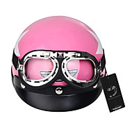 Motorcycle Safety Helmet + Detachable Visor + Goggles White Star Pattern Pink
