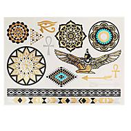 12ks zdobení těla dočasné tetování zlatá stříbrná černá metalíza blesk nálepka šperky nepromokavé řetězy náramek náhrdelník