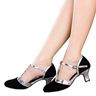 Women's Dance Shoes Latin Velvet / Sparkling Glitter / Synthetic Cuban Heel Black / Brown / Silver / Gold