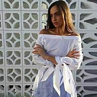 Chemisier Aux femmes,Rayé Décontracté / Quotidien Sexy / Chic de Rue Printemps Manches Longues Bateau Bleu / Blanc Polyester Fin