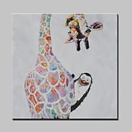 grande pintura a óleo abstrata moderna girafa mão animais canvas, com quadro esticado pronto para pendurar pintada