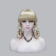 新しいかわいい劇場のコスプレ前髪は2三つ編みで金髪のかつらを淡