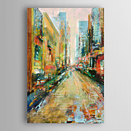 lado vista pintura a óleo pintado paisagem da cidade com quadro esticado arts® 7 parede