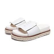 Pantofle-Kůže-Pantofle-Dámská obuv-Černá / Bílá-Běžné-Platformy