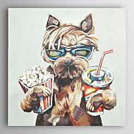 mão pintura a óleo pintado coque bebida animais e comer cães pipoca com moldura esticada arts® 7 parede