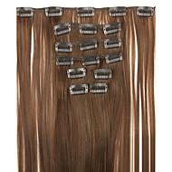 lengde 62cm høy temperatur wire parykk brun rett syntetisk hår forlengelse