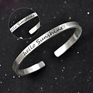 Men's / Unisex / Women's / Couples' Cuff / Personalized / Round Bangles Bracelet Silver / Sterling Silver Non Stone