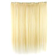 parykk hvitt gull 52cm høy temperatur wire lengde rett hår syntetisk hår forlengelse