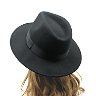 Unisex Cotton British Retro Jazz Hat Fashion Pure Color Bow Large Brimmed Hat