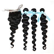 Trama do cabelo com Encerramento Cabelo Peruviano Ondulação Larga 18 Meses 3 Peças tece cabelo