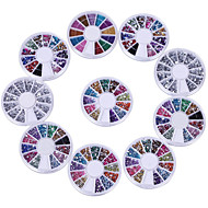 10 Wheels Premium Manicure Nail Art Decorations Total of 15000 Gems By Cheeky