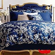 Luxury Egyptian Cotton 4PC Duvet Set Floral Pattern Queen King Size