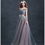 Formal Evening Dress Ball Gown Off-the-shoulder Floor-length Lace / Tulle with Lace