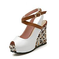 נעלי נשים-סנדלים-עור פטנט / PU-פלטפורמות / נעלים עם פתח קדמי / נוחות / רצועה אחורית-כחול / ירוק / ורוד / לבן-משרד ועבודה / שמלה-עקב וודג'