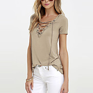 Women's Going out Sexy / Street chic Blouse,Solid V Neck Short Sleeve White / Black / Brown Rayon Thin