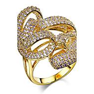 נשים טבעות רצועה זירקונה מעוקבת אופנתי תכשיטי יוקרה זירקון זירקוניה מעוקבת נחושת מצופה פלטינום ציפוי זהב Round Shape תכשיטים עבורחתונה